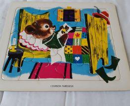 Lot de 2 puzzles enfants en carton, début années 70