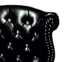 Fauteuil Chesterfield Vintage aspect Cuir noir