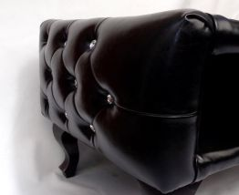 Table Basse Chesterfield Vintage aspect Cuir noir