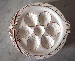 Lot de 6 assiettes à huîtres, motif poisson blanc/rouge