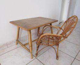 table + fauteuil rotin enfant vintage