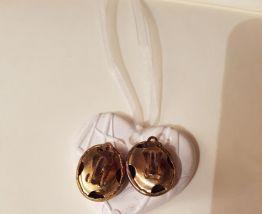 Boucles d'oreilles a clips noires et dorées