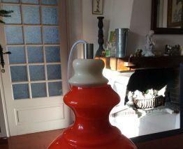 Suspension orange vintage en opaline