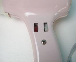 Sèche cheveux Moulinex vintage, rose et blanc