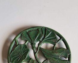 ancien dessous de plat en fonte style art nouveau vert