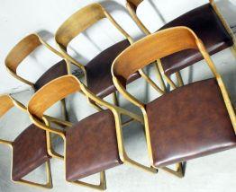 Suite de 6 chaises traineau Baumann vintage cuir marron 60's