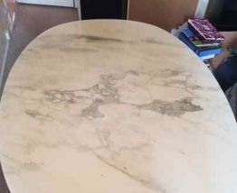 Table marbre blanc ovale