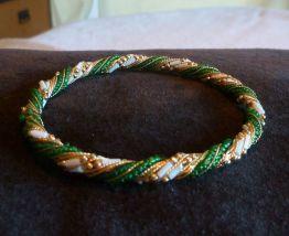Bracelet jonc perles et fil doré Inde