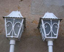 2 anciens candélabres en fer forgé, hauteur 2,42m