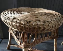 Table osier rotin vintage