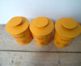 3 pots à condiments vintage