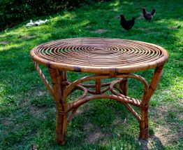 Table ronde en Bambou et Rotin années 60