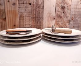 6 assiettes en ceramique Longchamp 1950