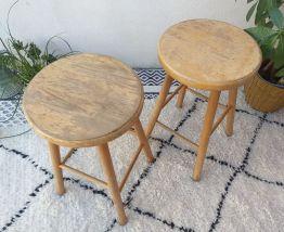 2 tabourets vintage rétro rustique
