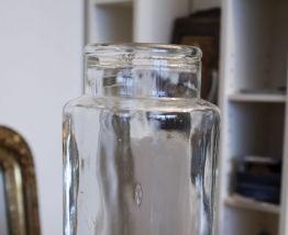 Grand bocal ancien en verre transparent vintage