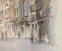 Tableau aquarelle Normandie Gérald Gripon vieux Rouen