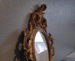petit miroir ancien style rocaille en bois doré