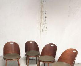 4 Chaises bistrot vintage 70's pieds compas