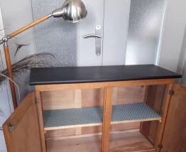 Buffet vintage chêne et noir mat
