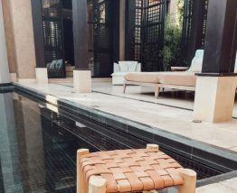 Tabouret marocain cuir et bois
