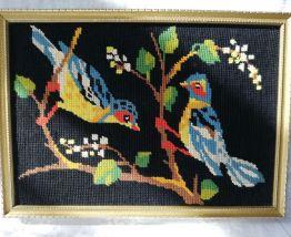 Canevas oiseaux vintage cadre doré