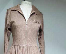 robe vintage marron pale a pois