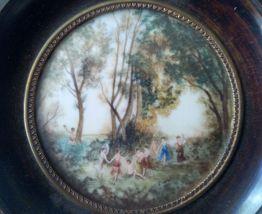 Peinture miniature Scène champêtre  S