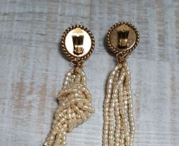 boucles d'oreilles fausses perles pendantes vintage