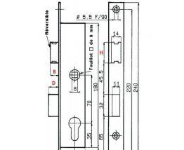 Serrure Métalux DOM F107360000 - Entraxe 70 mm - Coffre 36 m