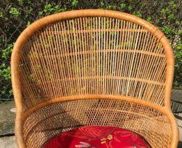 Fauteuil ancien en rotin et osier vintage