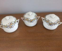 Trio de pots à crème en porcelaine de LIMOGES