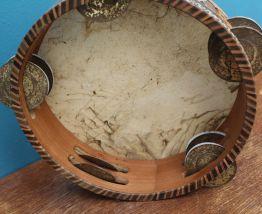 ancien Tambourin en cuir berbère vintage