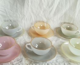 Six tasses à café Arcopal de couleurs, série Arlequin