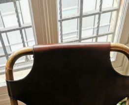 Fauteuil Rohe Noordwolde Bambou & Cuir Vintage