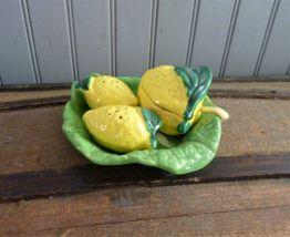 Service à condiments feuille et citrons