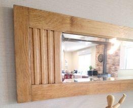 Miroir ancien biseauté, cadre chêne