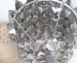 Lampe 70's métal upcyclin et pied en métal orange