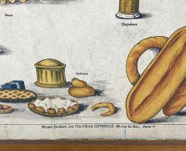 """Affiche scolaire """"le pain"""" vintage 50's"""