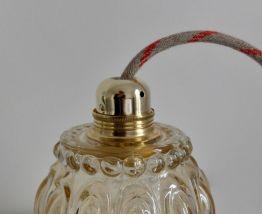 Suspension avec globe verre ambré
