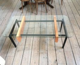 Table basse bois, metal, verre