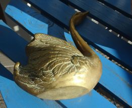 Ancien Vide Poche bronze  Laiton en forme de Cygne