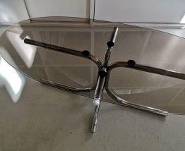 Table basse en verre fumé 70's