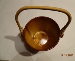 Seau à glaçons poterie et rotin années 80 pot