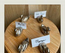 Ensemble de 6 porte-noms en métal, forme de cygnes