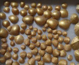 Lot véritables coquillages dorés déco Noël NEUFS