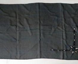 Ancien foulard en crêpe noir transparent