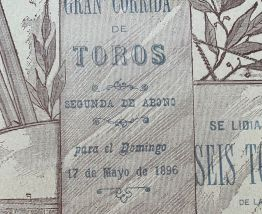 Exceptionnelle Affiche ancienne Corrida du 17 mai 1896 Valen