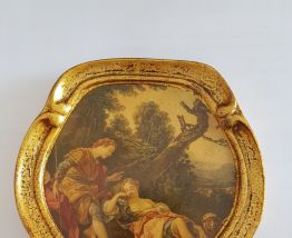 Lot de 3 Cadres médaillons en bois doré peintures miniatures