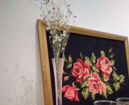 Soliflore vintage rose orangé pied en étoile
