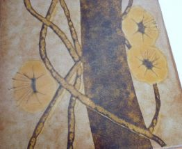 dessous de plat carreau grès années 60 bordure en chène
